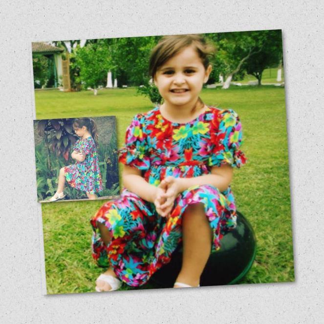 Milena com vestido mIlena em 2 fotos